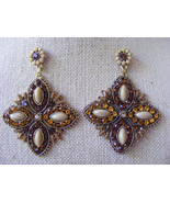 ETHNIC EXOTIC AMBER, GOLD AND GRAY FOUR SIDED DANGLE DROP STATEMENT EARR... - $10.88