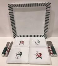 Fitz & Floyd Essentials 9 Pc. (Platter Canapé Plates Spreaders) Merry Christmas - $59.39