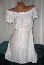 White 2 Piece Babydoll Nightgown & Panty 1X Short Gown Soft Poly Interlock - $21.98