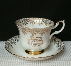 "China TEA CUP & SAUCER by ROYAL ALBERT ""HAPPY ANNIVERSARY"" Golden Accent... - $18.42"