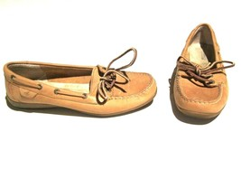 RARE WOMENS SPERRY TOP SIDE BOAT SHOES LOAFER - Slim Brown Tan Leather sz 7 - $43.56
