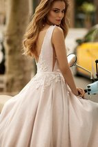 Sexy V-neck Open Back Shiny Tulle Beaded Lace Appliqued Princess A- Line Wedding image 5