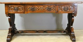 17729 Large Carved Oak Library Writing Table with Drawers - $875.00