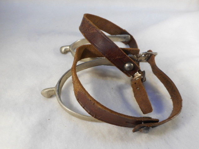VINTAGE Marked NICKEL WESTERN COWBOY SPURS & STRAPS