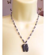 black stone elephant necklace glass beaded handmade gemstone animal jewe... - $5.99