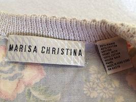 Marisa Christina S M Blue Floral Fabric Back Tan Oatmeal Sweater Vest image 5