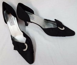 New Touch Ups Black Satin Embellished Formal Prom Wedding Heels Women's ... - £32.17 GBP