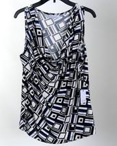 Nwt Womens Blouse Sleeveless Calvin Klein Medium Black Blue White Career - $48.38