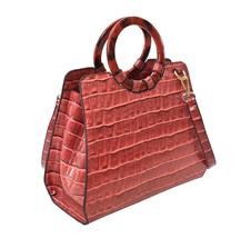 Women's Embossed Faux Crocodile Pattern Handbag Vegan Textured Leather Purse image 11