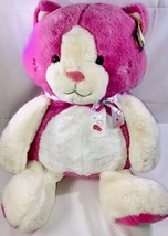 "Animal Adventure Large 28"" Kitty Cat Pink White Plush Heart Bow W Tags - $37.46"