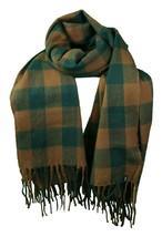 WeSC Unisex Odin Green Brown Checker Woven Acrylic Winter Scarf Shawl B405933 NW