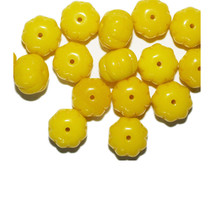 Yellow Puff Blossom Czech Pressed Glass Beads 8x10mm (pack of 16) - $6.47