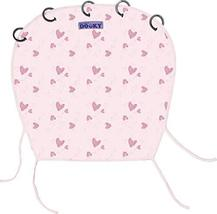 Dooky Sun Shade for Strollers - Designed with Pink Hearts - Pure Cotton Stroller