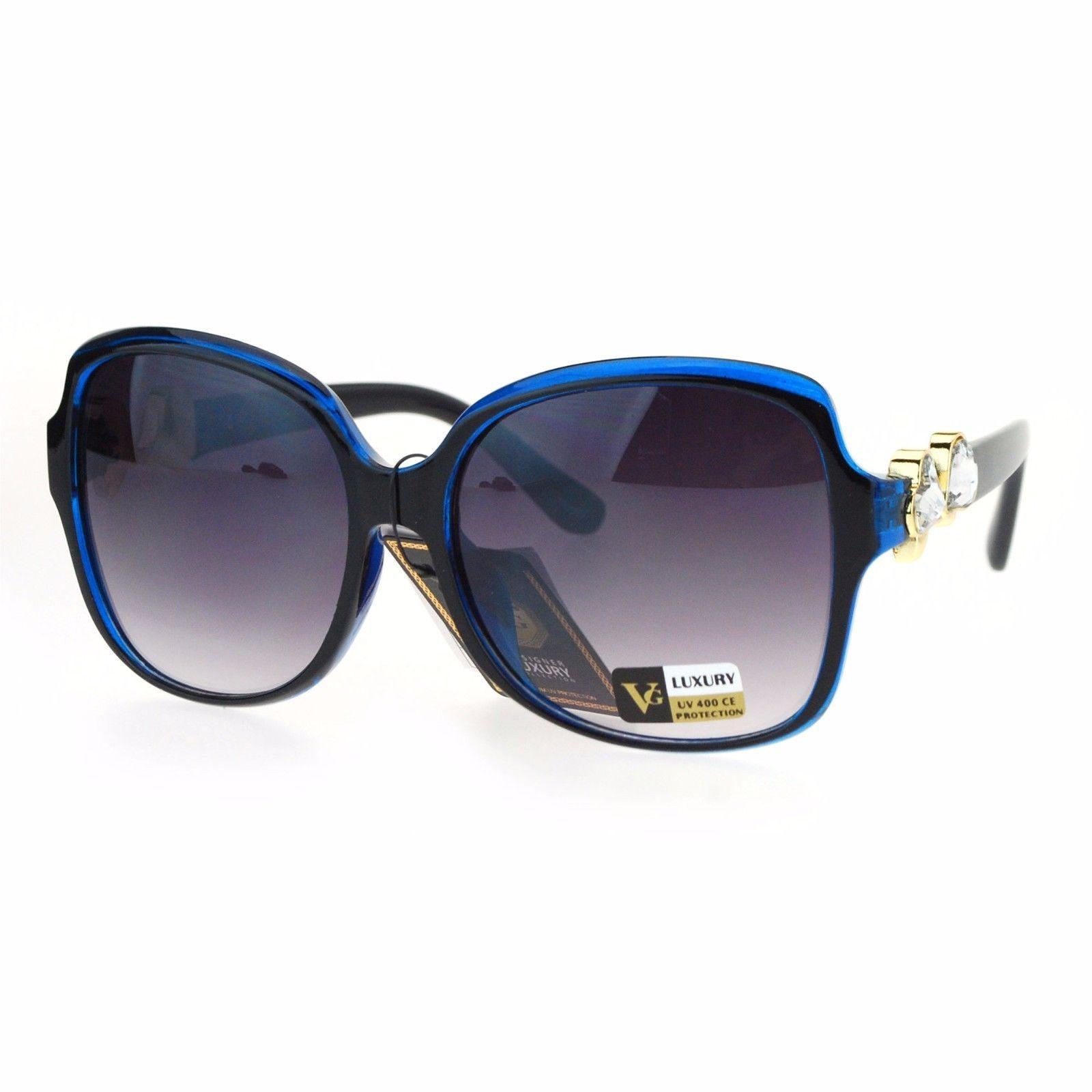 Two Hearts Rhinestones Womens Fashion Sunglasses Square Frame UV 400