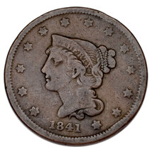 1841 Braided Hair Large Cent 1C Penny (Very Good, VG Condition) - $78.21