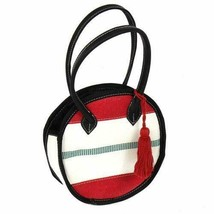 "Fashion Handbag 8"" Round Black Red White and Green Global Hand Made Tassel - $2.97"