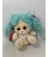 Mattel Emotions plush vintage blue hair cream white brown eyebrows pink ... - $14.84
