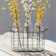 Country FARMHOUSE CADDY with THREE GLASS BOTTLES Wire Basket Holder Storage - $48.99