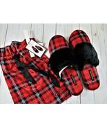 Victorias Secret Red Plaid Satin Slippers Size Large 9-10 +Storage Bag N... - $15.83