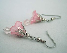 Flower and Crystal Drop Earrings Pink Handmade - $13.50
