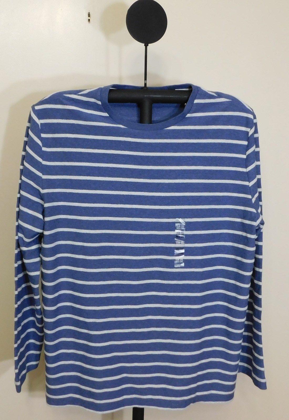 Nautica Blue Indigo Men's Slim-Fit Striped  Crew Neck Long Sleeve Shirt - XXL