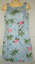 TALBOTS Sleeveless Cotton Hawaiian Floral Summer Shift Dress Hibiscus Fl... - $19.99