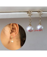Top real 18K diamond GOLD 11-12MM SOUTH SEA round white PEARL Dangle EAR... - $641.35