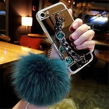 Case for HTC Bolt,Luxury Hairy Fur Plush Pom-pom Ball Pearl Diamond Metal Hand C - $12.86