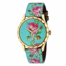GUCCI YA1264085 G-Timeless yellow-gold PVD and leather watch - $1,088.01