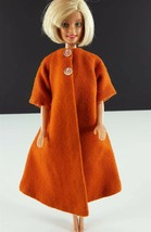 Barbie Orange A Line Wool Coat Clone 1960s Clothing - $24.74