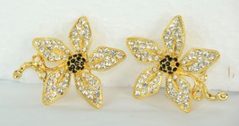 Set of 2 Matching Golden Flower Brooches Clear & Black Rhinestones / Cry... - $7.23