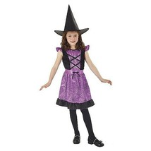 New Kids Girls Totally Ghoul Purple Spider Web Witch Halloween Costume Sz Large - $17.77
