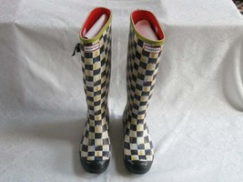Mackenzie Childs Courtly Check Hunter Boots Size 7 8 Rain retired & RARE - $371.25