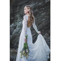 Sexy Low Open Back Scoop Neckline, Long Sleeve White Lace Wedding Dress image 3