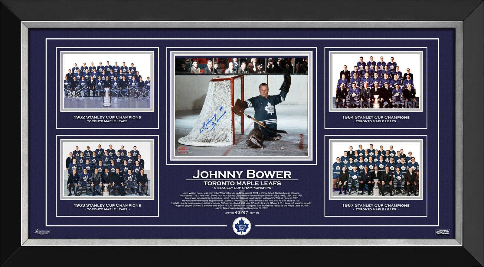 Framed photo johnny bower 4cups autographed 62of67
