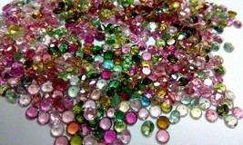 Natural Multi Tourmaline 4mm Faceted Cut Round 25 Pieces Loose Gemstone Lot - $51.29