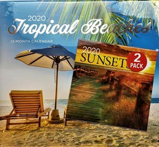 2020 Calendar Tropical Beaches 2 Pack 12 Month New Sealed Wall & Mini Fa... - $12.19