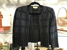 ST. JOHN SoCa Black Woven Ribbon Knit Open Front Cardigan/Jacket  Sz S $500 - $226.61