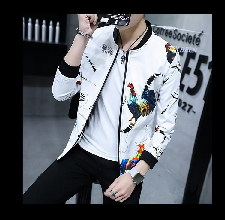 2018 Spring and Autumn New Fashion Men's Slim Fit Black Jacket Men's Printing Br