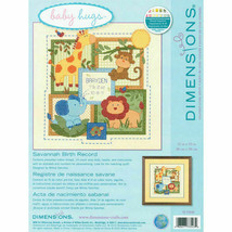 Dimensions Savannah Birth Record Counted Cross Stitch Kit Baby Shower Animal New - $33.49