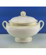 EUC Royal Worcester CONTESSA White w Gold Trim Footed SOUP Tureen w Flor... - $177.21