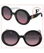 GUCCI 0319 Black Pearl Pink Gradient Round Retro Sunglasses GG0319S Fash... - $193.05