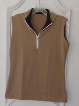 Stylish Women's Golf & Casual Tan Sleeveless Mock Polo, Rhinestone Neck ... - $29.95