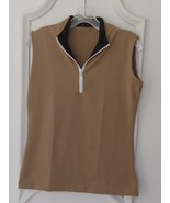 Stylish Women's Golf & Casual Tan Sleeveless Mock Polo, Rhinestone Neck ... - $29.95