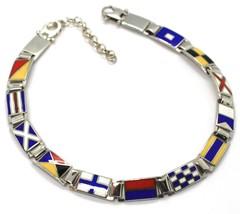 Bracelet Argent 925, Drapeaux Nautique Émaillés,Long 20 cm, Épaisseur 6 MM image 1