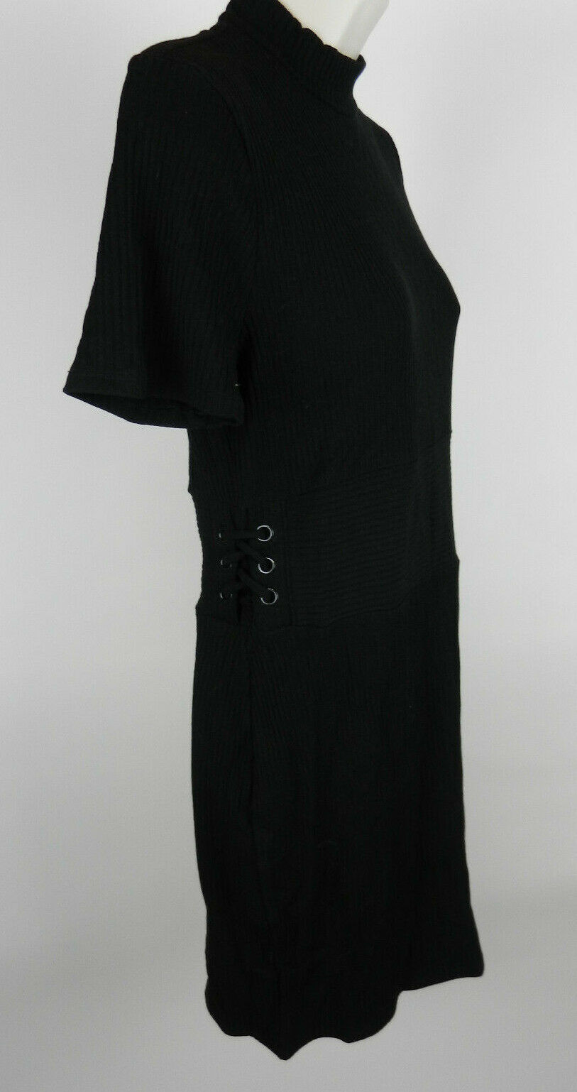 Express M Dress Black SS Knit Stretchy Accent Lacing on Right Side Bodycon New image 3