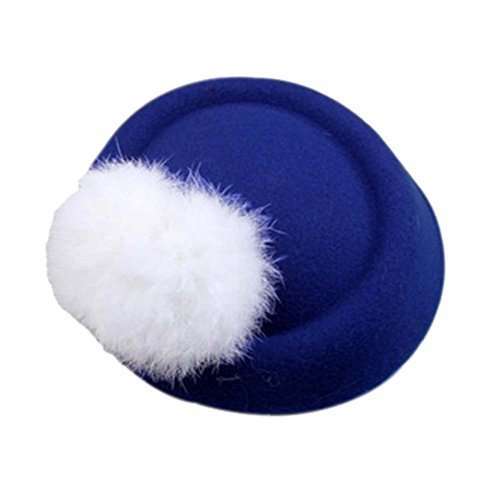 Wool Fedora Hat Small Hat Hairpin Side Clip Hair Accessories, Blue