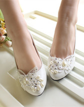Ivory White Bridal shoes flats,Women Lace bridal shoes Size UK 2,3,4,5,6,7,8 - $38.00