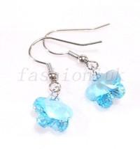 Women Swarovski Element Crystal hook Dangle White Gold Plated Wedding Earrings - $16.43