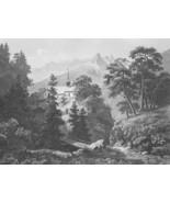 SWITZERLAND View of Bristen Swiss Alps !! Vintage Antique Print Engraving - $13.77